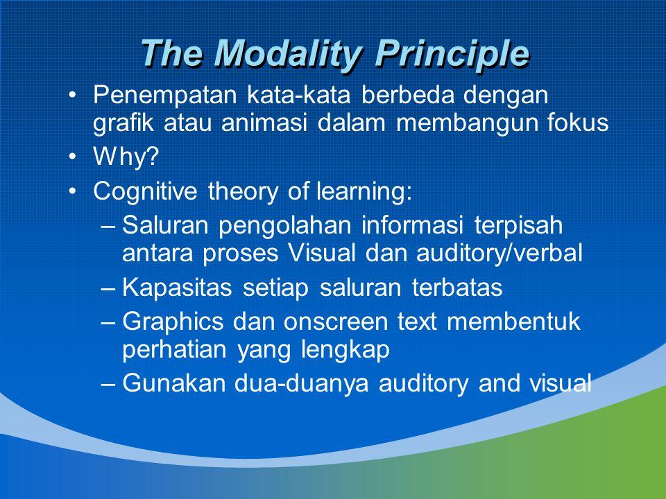 The Modality Principle Penempatan kata-kata berbeda dengan grafik atau animasi dalam membangun fokus Why? Cognitive theory of learning: –Saluran pengo