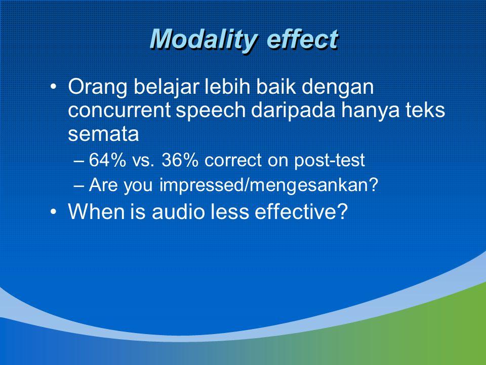 Modality effect Orang belajar lebih baik dengan concurrent speech daripada hanya teks semata –64% vs. 36% correct on post-test –Are you impressed/meng