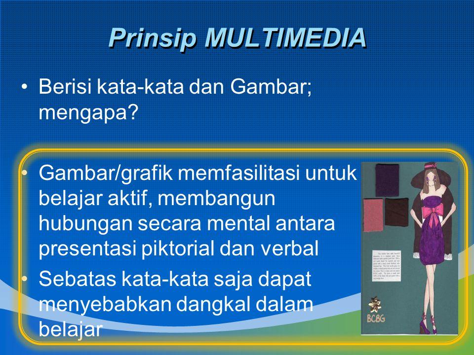 Prinsip MULTIMEDIA Berisi kata-kata dan Gambar; mengapa? Gambar/grafik memfasilitasi untuk belajar aktif, membangun hubungan secara mental antara pres