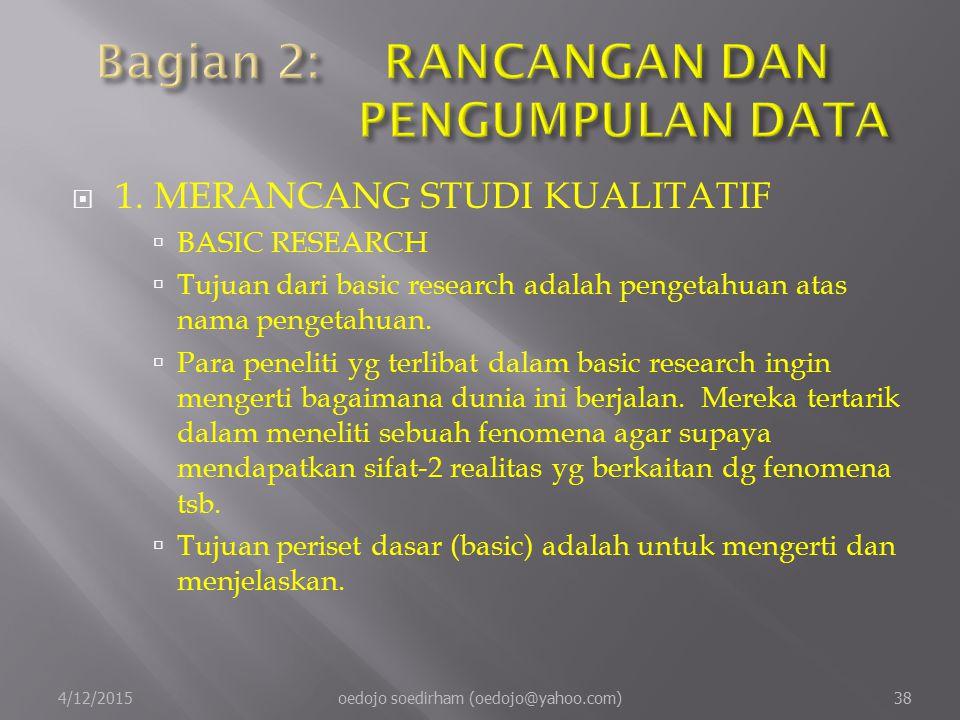  1.MERANCANG STUDI KUALITATIF  BASIC RESEARCH  Tujuan dari basic research adalah pengetahuan atas nama pengetahuan.