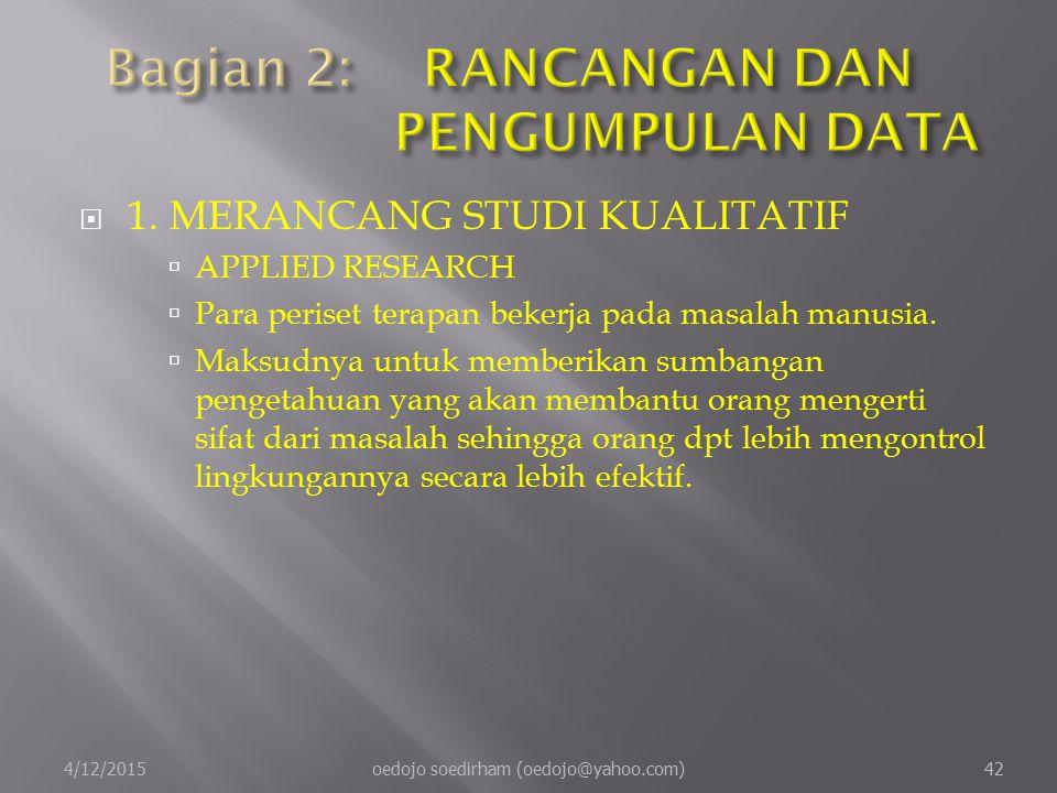  1.MERANCANG STUDI KUALITATIF  APPLIED RESEARCH  Para periset terapan bekerja pada masalah manusia.