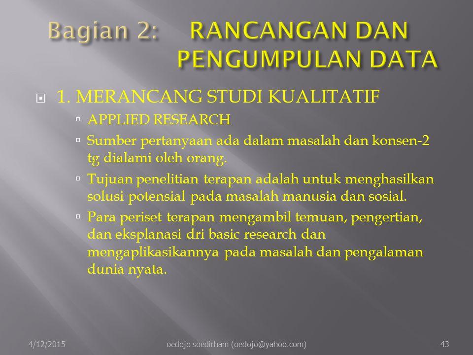  1.MERANCANG STUDI KUALITATIF  APPLIED RESEARCH  Sumber pertanyaan ada dalam masalah dan konsen-2 tg dialami oleh orang.