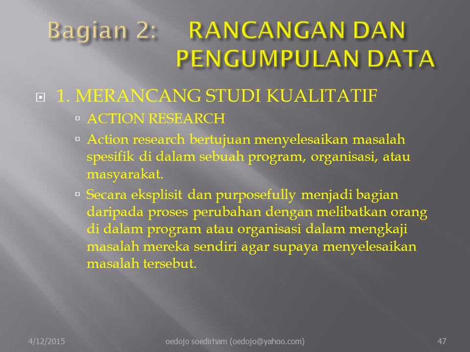  1.MERANCANG STUDI KUALITATIF  ACTION RESEARCH  Action research bertujuan menyelesaikan masalah spesifik di dalam sebuah program, organisasi, atau masyarakat.