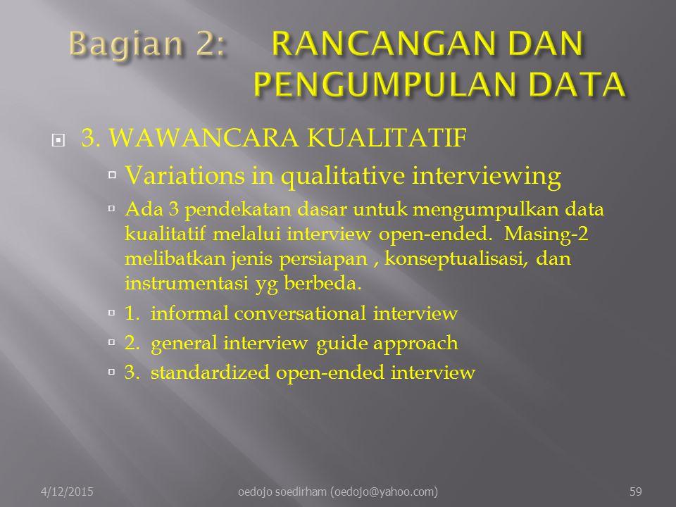  3.WAWANCARA KUALITATIF  Variations in qualitative interviewing  Ada 3 pendekatan dasar untuk mengumpulkan data kualitatif melalui interview open-ended.