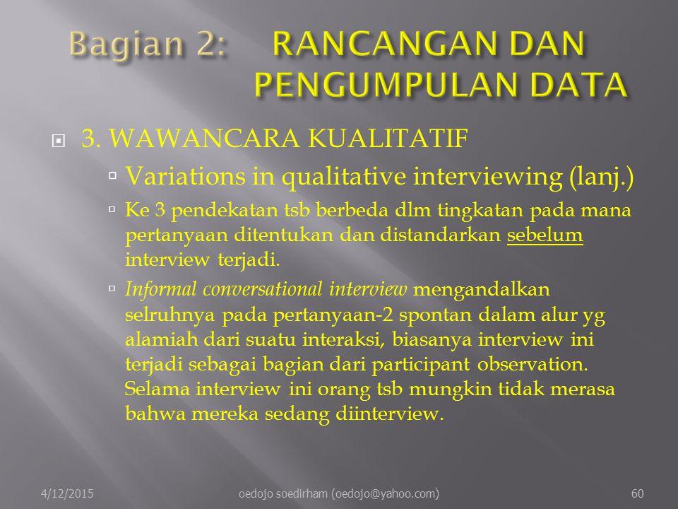  3.WAWANCARA KUALITATIF  Variations in qualitative interviewing (lanj.)  Ke 3 pendekatan tsb berbeda dlm tingkatan pada mana pertanyaan ditentukan dan distandarkan sebelum interview terjadi.