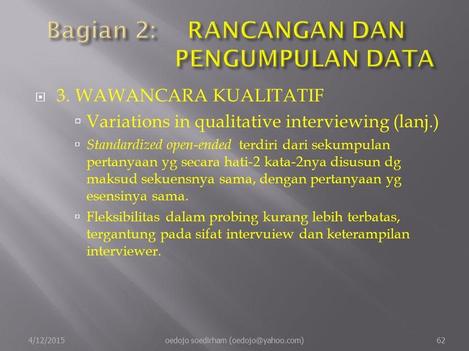  3.WAWANCARA KUALITATIF  Variations in qualitative interviewing (lanj.)  Standardized open-ended terdiri dari sekumpulan pertanyaan yg secara hati-2 kata-2nya disusun dg maksud sekuensnya sama, dengan pertanyaan yg esensinya sama.