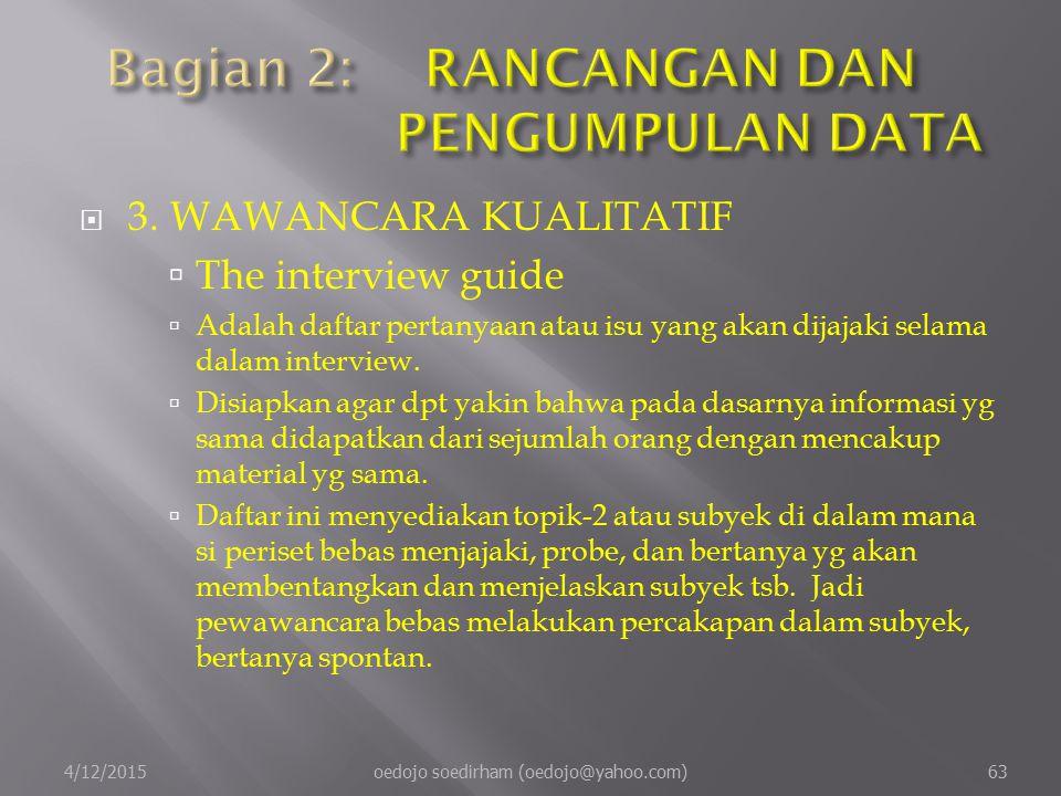  3.WAWANCARA KUALITATIF  The interview guide  Adalah daftar pertanyaan atau isu yang akan dijajaki selama dalam interview.