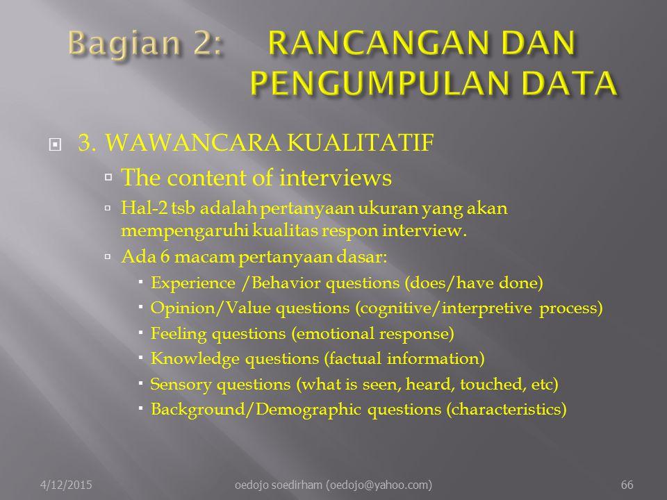  3.WAWANCARA KUALITATIF  The content of interviews  Hal-2 tsb adalah pertanyaan ukuran yang akan mempengaruhi kualitas respon interview.