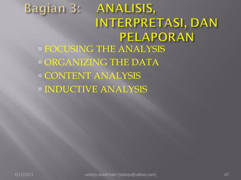  FOCUSING THE ANALYSIS  ORGANIZING THE DATA  CONTENT ANALYSIS  INDUCTIVE ANALYSIS 4/12/2015oedojo soedirham (oedojo@yahoo.com)67