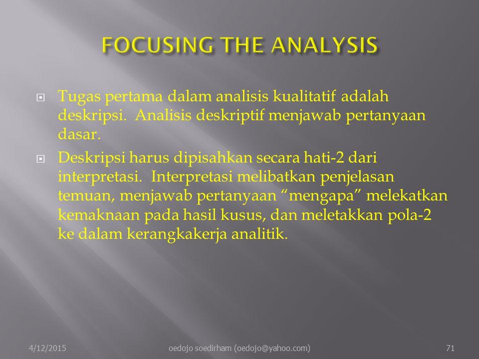  Tugas pertama dalam analisis kualitatif adalah deskripsi.
