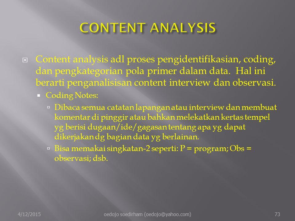  Content analysis adl proses pengidentifikasian, coding, dan pengkategorian pola primer dalam data.