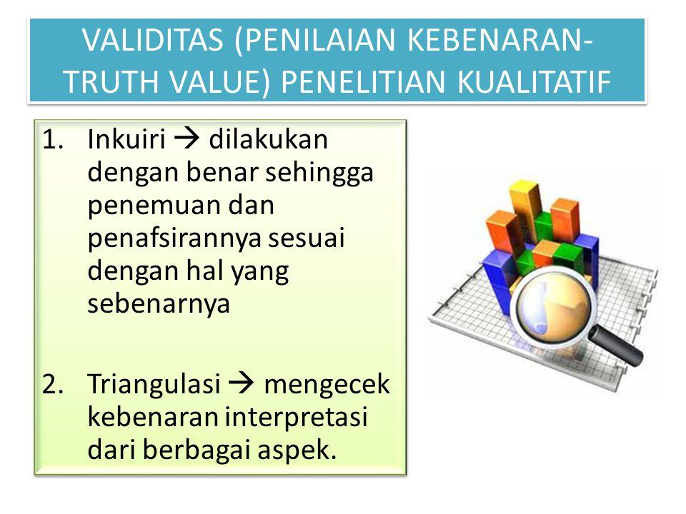 VALIDITAS (PENILAIAN KEBENARAN- TRUTH VALUE) PENELITIAN KUALITATIF 1.Inkuiri  dilakukan dengan benar sehingga penemuan dan penafsirannya sesuai denga