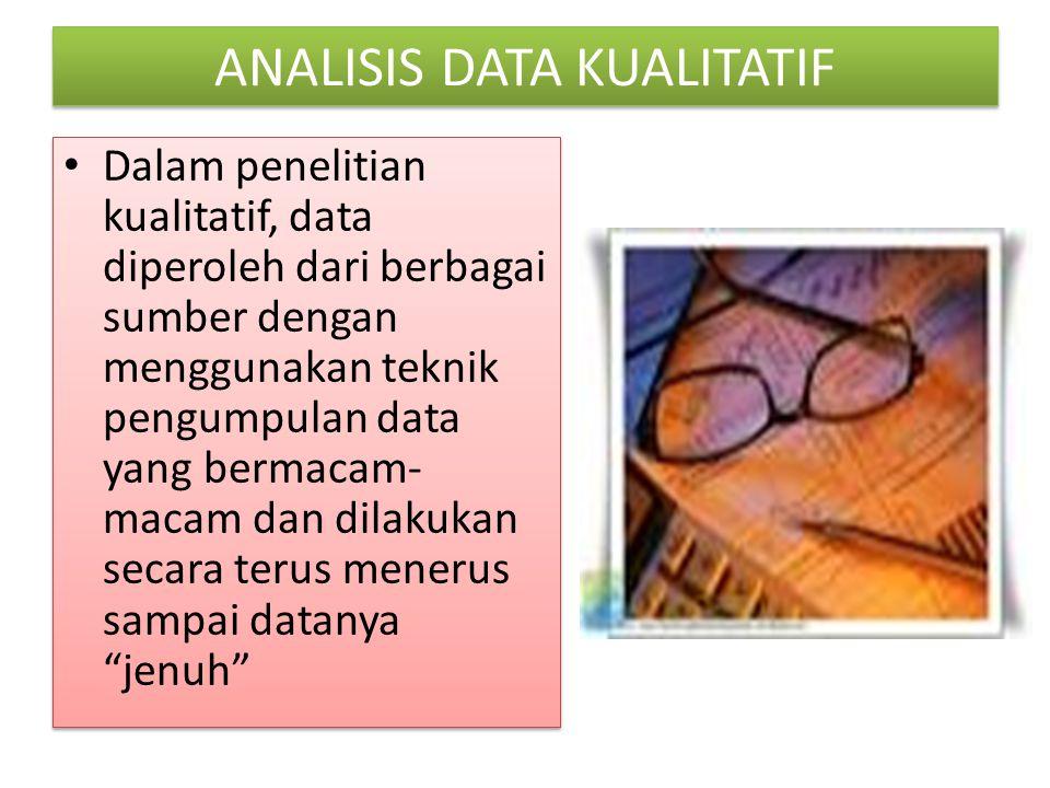 ANALISIS DATA KUALITATIF Dalam penelitian kualitatif, data diperoleh dari berbagai sumber dengan menggunakan teknik pengumpulan data yang bermacam- ma