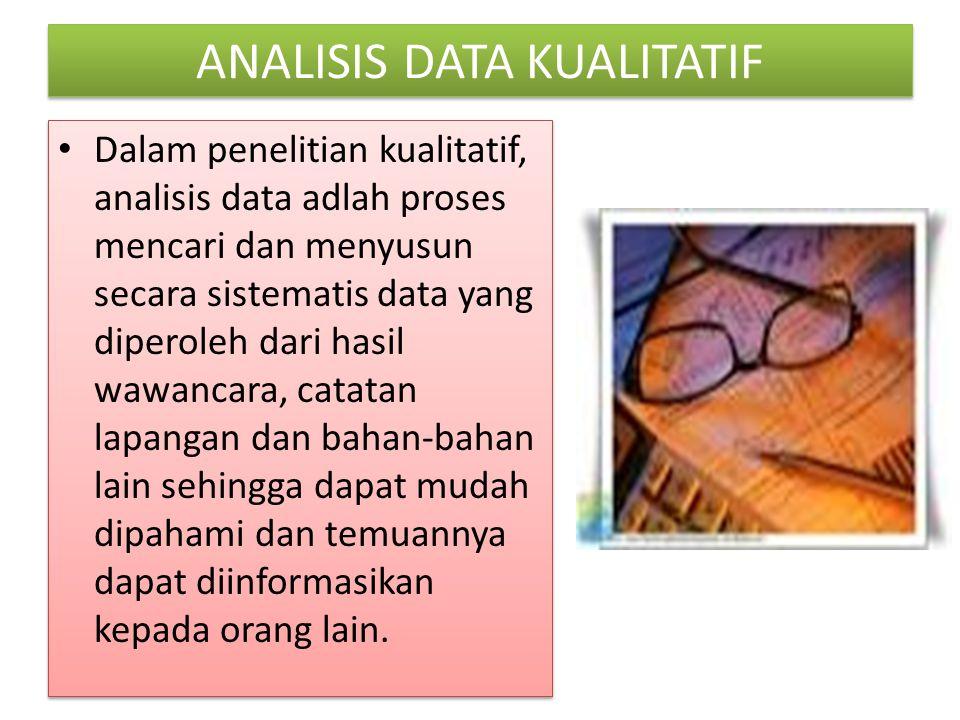 ANALISIS DATA KUALITATIF Dalam penelitian kualitatif, analisis data adlah proses mencari dan menyusun secara sistematis data yang diperoleh dari hasil
