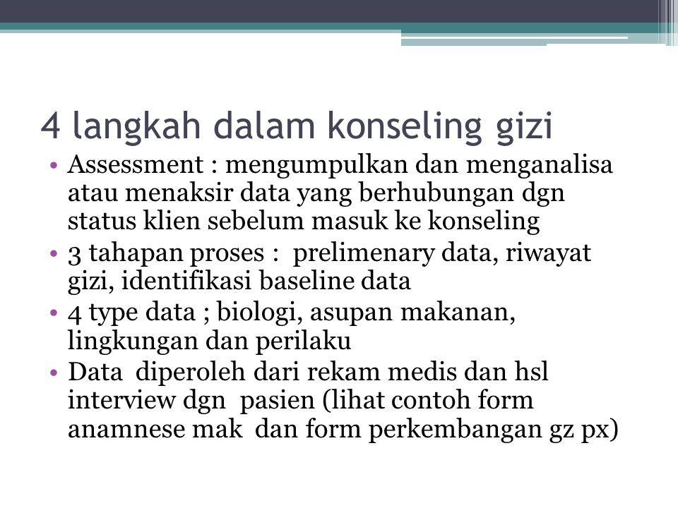 4 langkah dalam konseling gizi Assessment : mengumpulkan dan menganalisa atau menaksir data yang berhubungan dgn status klien sebelum masuk ke konseli