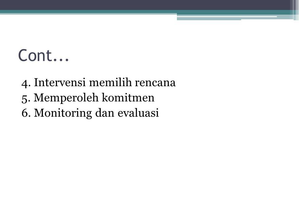 Cont... 4. Intervensi memilih rencana 5. Memperoleh komitmen 6. Monitoring dan evaluasi