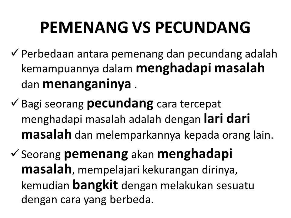 PEMENANG VS PECUNDANG Perbedaan antara pemenang dan pecundang adalah kemampuannya dalam menghadapi masalah dan menanganinya. Bagi seorang pecundang ca