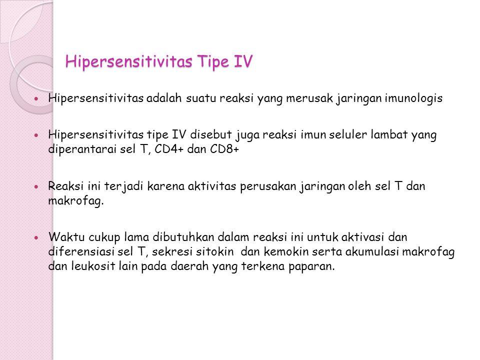 Hipersensitivitas Tipe IV Hipersensitivitas adalah suatu reaksi yang merusak jaringan imunologis Hipersensitivitas tipe IV disebut juga reaksi imun se