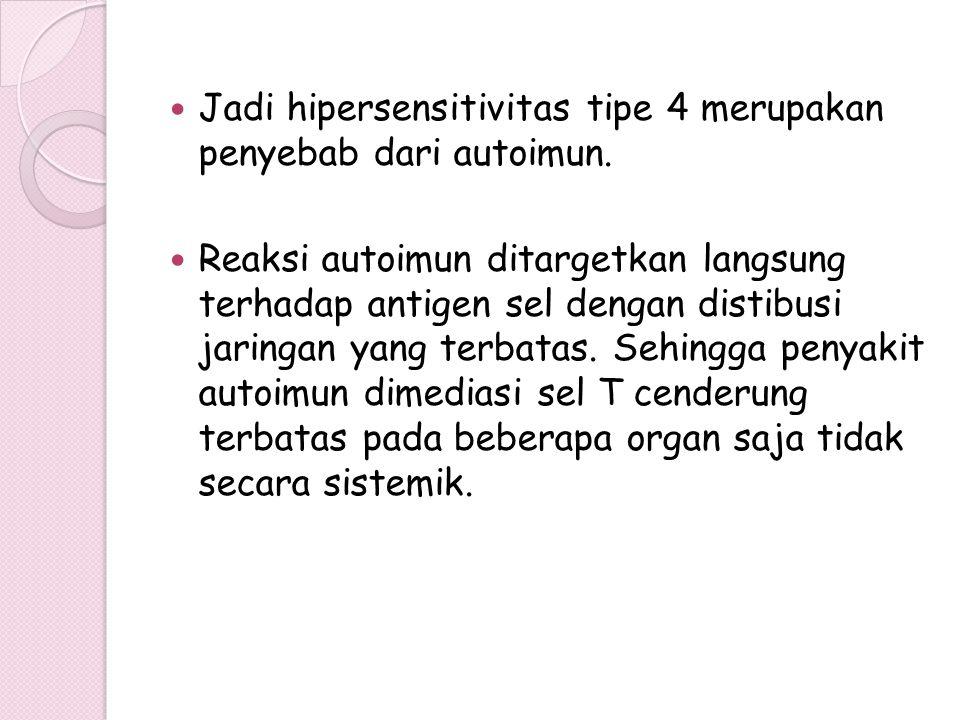 Jadi hipersensitivitas tipe 4 merupakan penyebab dari autoimun. Reaksi autoimun ditargetkan langsung terhadap antigen sel dengan distibusi jaringan ya