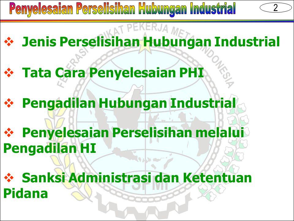 3  Perselisihan Hak  Perselisihan Kepentingan  Perselisihan PHK  Perselisihan antar SP dalam perusahaan Jenis PHI  UU No.