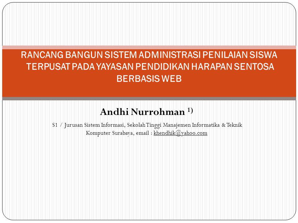 Andhi Nurrohman 1) S1 / Jurusan Sistem Informasi, Sekolah Tinggi Manajemen Informatika & Teknik Komputer Surabaya, email : khendhik@yahoo.com RANCANG BANGUN SISTEM ADMINISTRASI PENILAIAN SISWA TERPUSAT PADA YAYASAN PENDIDIKAN HARAPAN SENTOSA BERBASIS WEB