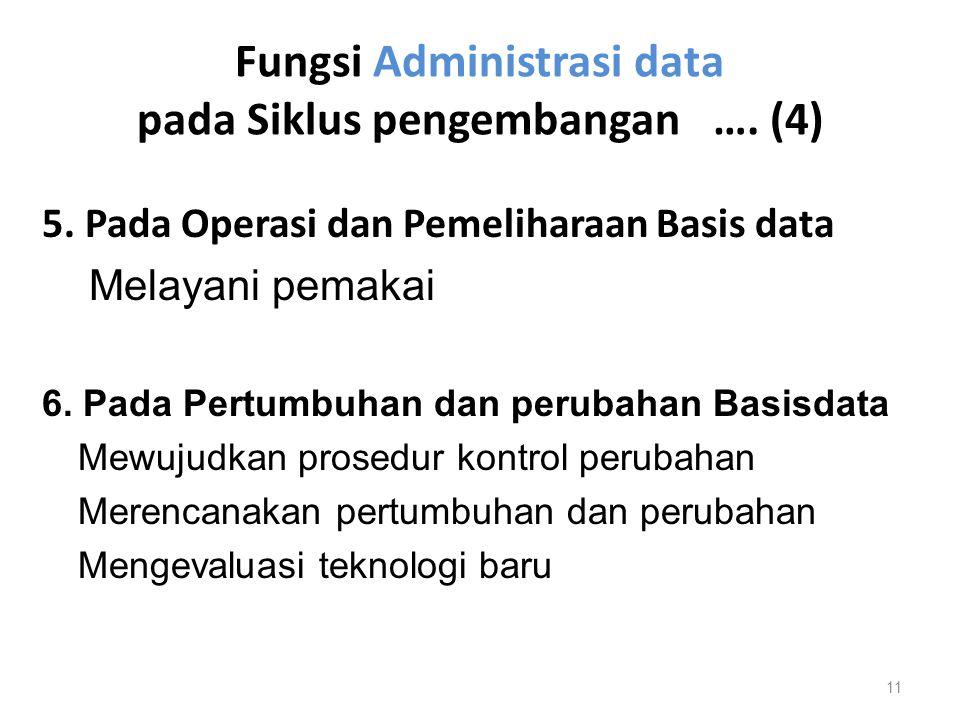 Fungsi Administrasi data pada Siklus pengembangan …. (4) 5. Pada Operasi dan Pemeliharaan Basis data Melayani pemakai 6. Pada Pertumbuhan dan perubaha