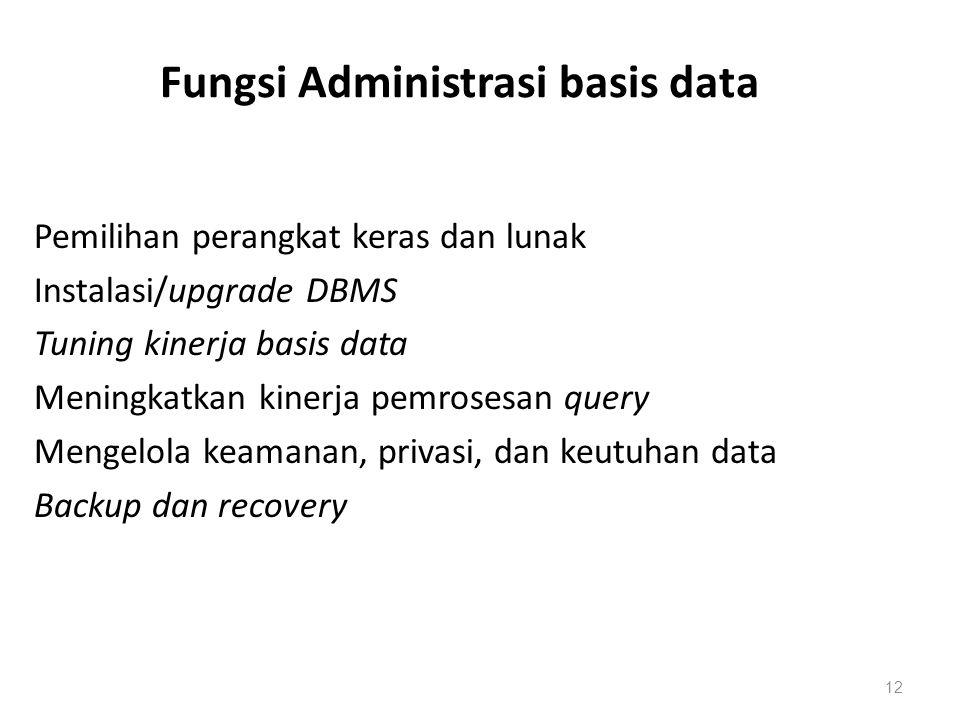 Fungsi Administrasi basis data Pemilihan perangkat keras dan lunak Instalasi/upgrade DBMS Tuning kinerja basis data Meningkatkan kinerja pemrosesan qu
