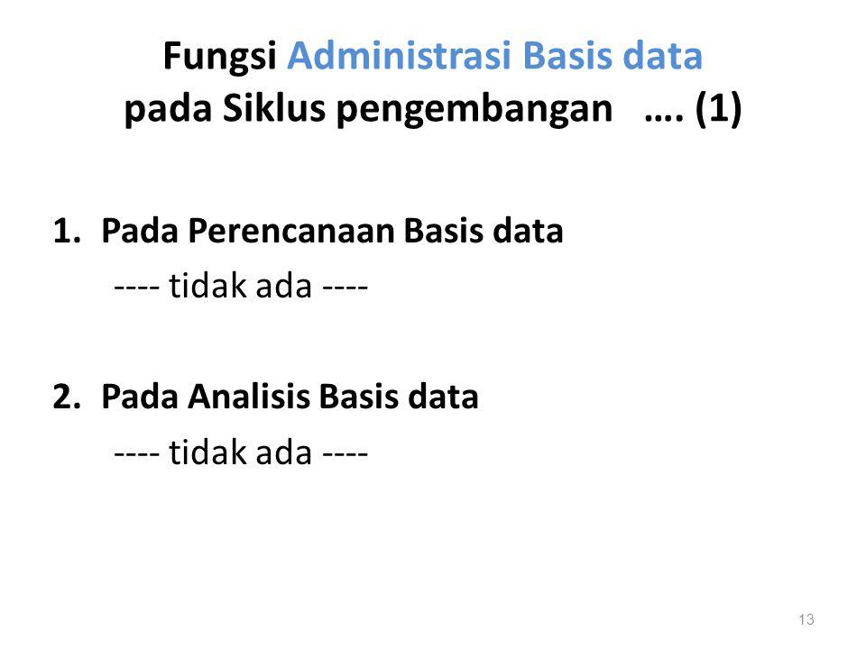 Fungsi Administrasi Basis data pada Siklus pengembangan …. (1) 1.Pada Perencanaan Basis data ---- tidak ada ---- 2.Pada Analisis Basis data ---- tidak