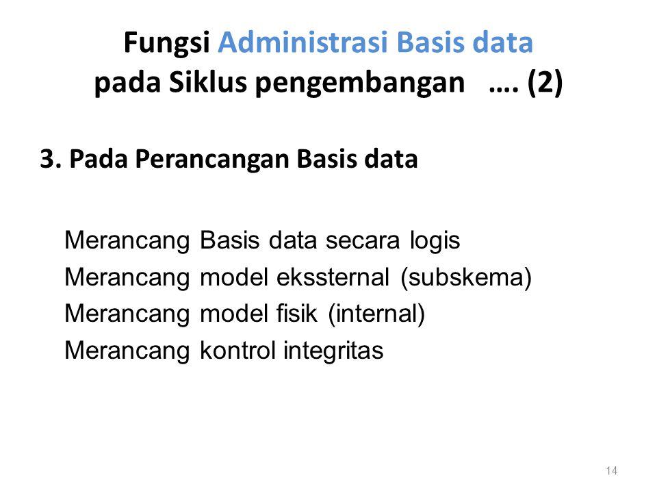 Fungsi Administrasi Basis data pada Siklus pengembangan …. (2) 3. Pada Perancangan Basis data Merancang Basis data secara logis Merancang model eksste