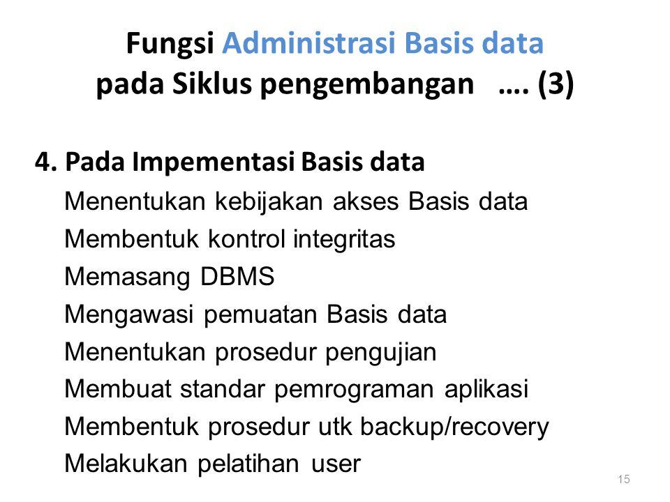Fungsi Administrasi Basis data pada Siklus pengembangan …. (3) 4. Pada Impementasi Basis data Menentukan kebijakan akses Basis data Membentuk kontrol