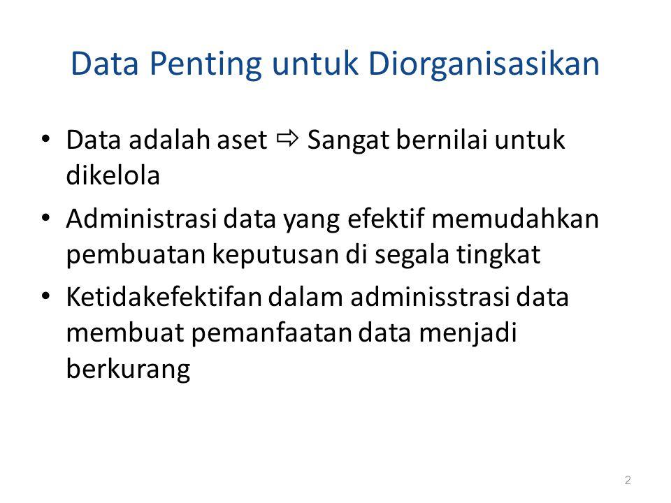 Data Penting untuk Diorganisasikan Data adalah aset  Sangat bernilai untuk dikelola Administrasi data yang efektif memudahkan pembuatan keputusan di