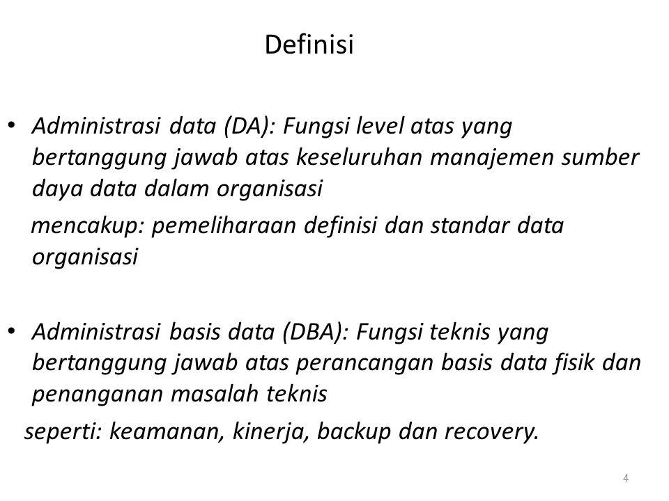 Definisi Administrasi data (DA): Fungsi level atas yang bertanggung jawab atas keseluruhan manajemen sumber daya data dalam organisasi mencakup: pemel