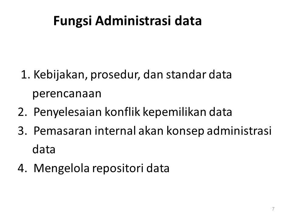Fungsi Administrasi data 1. Kebijakan, prosedur, dan standar data perencanaan 2. Penyelesaian konflik kepemilikan data 3. Pemasaran internal akan kons