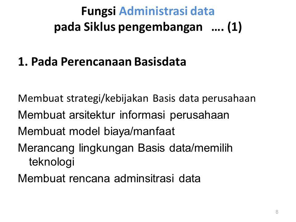Fungsi Administrasi data pada Siklus pengembangan …. (1) 1. Pada Perencanaan Basisdata Membuat strategi/kebijakan Basis data perusahaan Membuat arsite