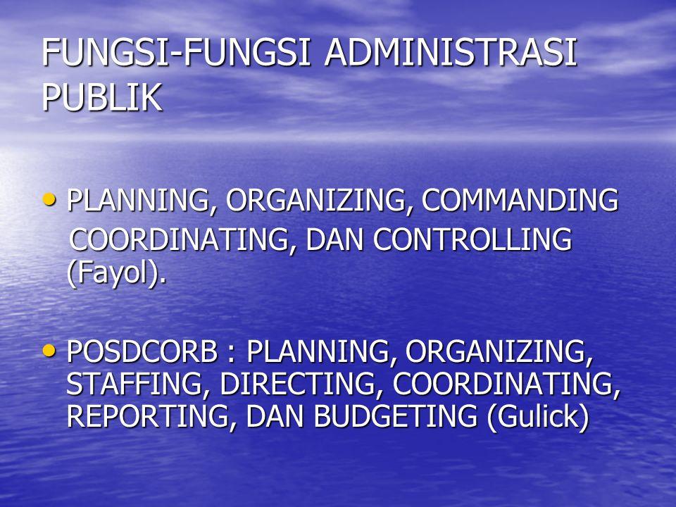 FUNGSI-FUNGSI ADMINISTRASI PUBLIK PLANNING, ORGANIZING, COMMANDING PLANNING, ORGANIZING, COMMANDING COORDINATING, DAN CONTROLLING (Fayol). COORDINATIN