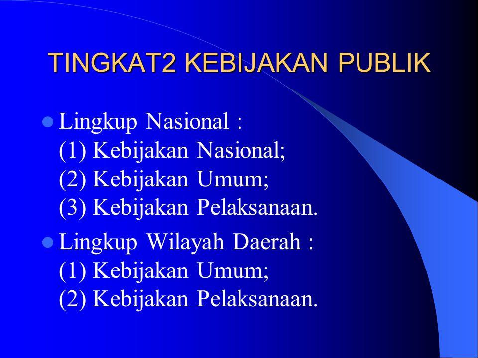 TINGKAT2 KEBIJAKAN PUBLIK Lingkup Nasional : (1) Kebijakan Nasional; (2) Kebijakan Umum; (3) Kebijakan Pelaksanaan. Lingkup Wilayah Daerah : (1) Kebij
