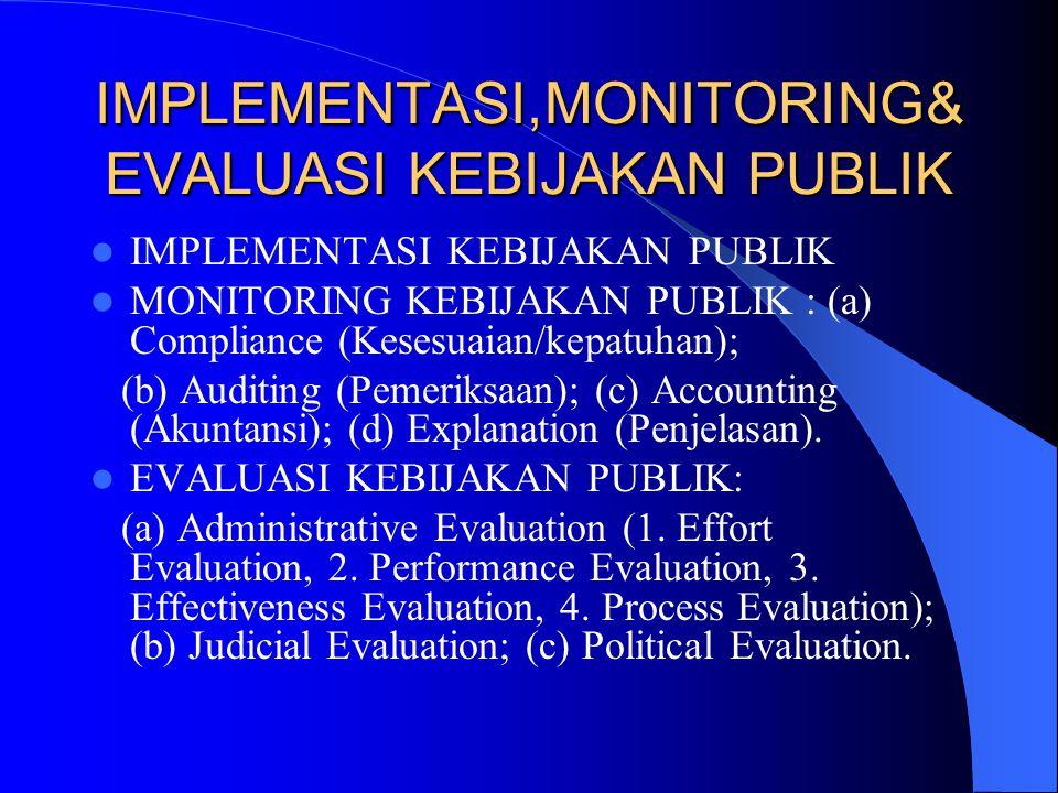 IMPLEMENTASI,MONITORING& EVALUASI KEBIJAKAN PUBLIK IMPLEMENTASI KEBIJAKAN PUBLIK MONITORING KEBIJAKAN PUBLIK : (a) Compliance (Kesesuaian/kepatuhan);