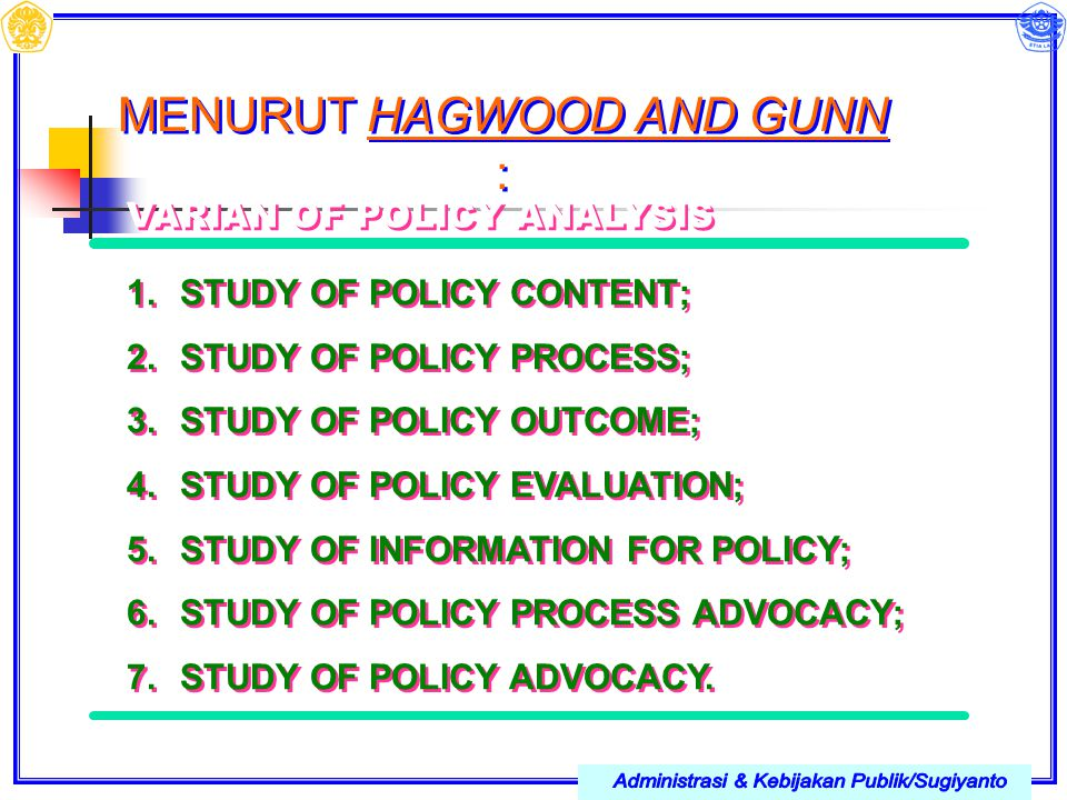 MENURUT HAGWOOD AND GUNN : VARIAN OF POLICY ANALYSIS 1.STUDY OF POLICY CONTENT; 2.STUDY OF POLICY PROCESS; 3.STUDY OF POLICY OUTCOME; 4.STUDY OF POLIC