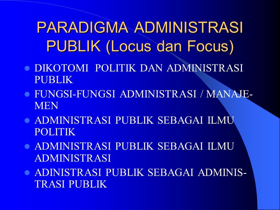 PARADIGMA ADMINISTRASI PUBLIK (Locus dan Focus) DIKOTOMI POLITIK DAN ADMINISTRASI PUBLIK FUNGSI-FUNGSI ADMINISTRASI / MANAJE- MEN ADMINISTRASI PUBLIK
