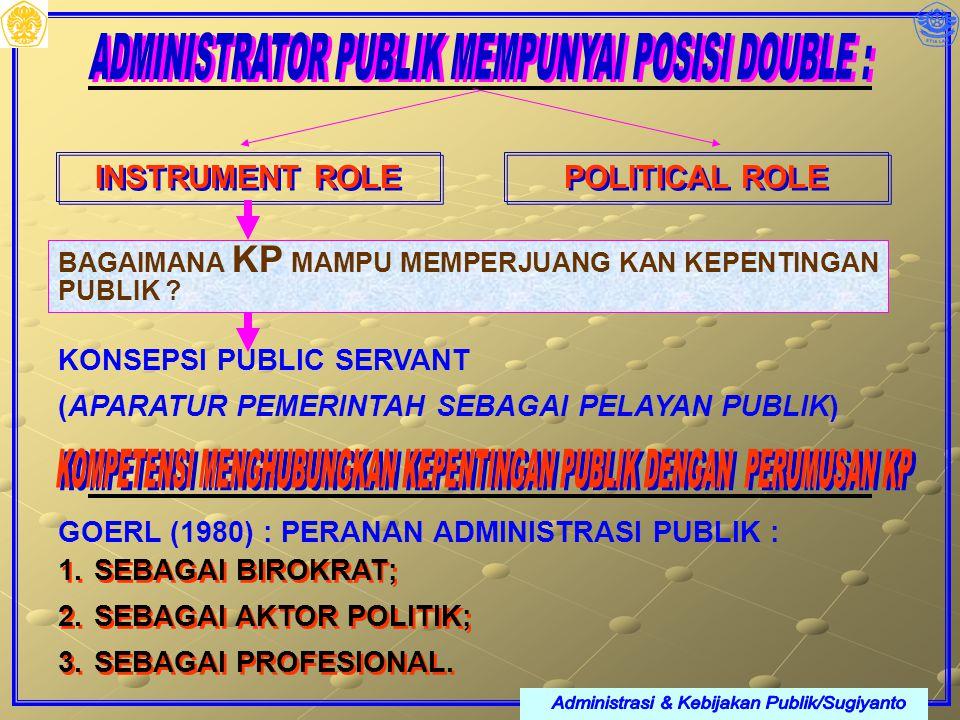 INSTRUMENT ROLE POLITICAL ROLE BAGAIMANA KP MAMPU MEMPERJUANG KAN KEPENTINGAN PUBLIK ? KONSEPSI PUBLIC SERVANT (APARATUR PEMERINTAH SEBAGAI PELAYAN PU