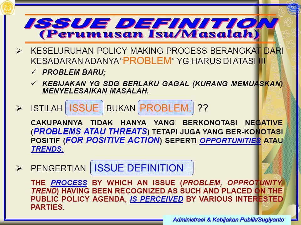 " KESELURUHAN POLICY MAKING PROCESS BERANGKAT DARI KESADARAN ADANYA "" PROBLEM "" YG HARUS DI ATASI !!! PROBLEM BARU; KEBIJAKAN YG SDG BERLAKU GAGAL (KU"