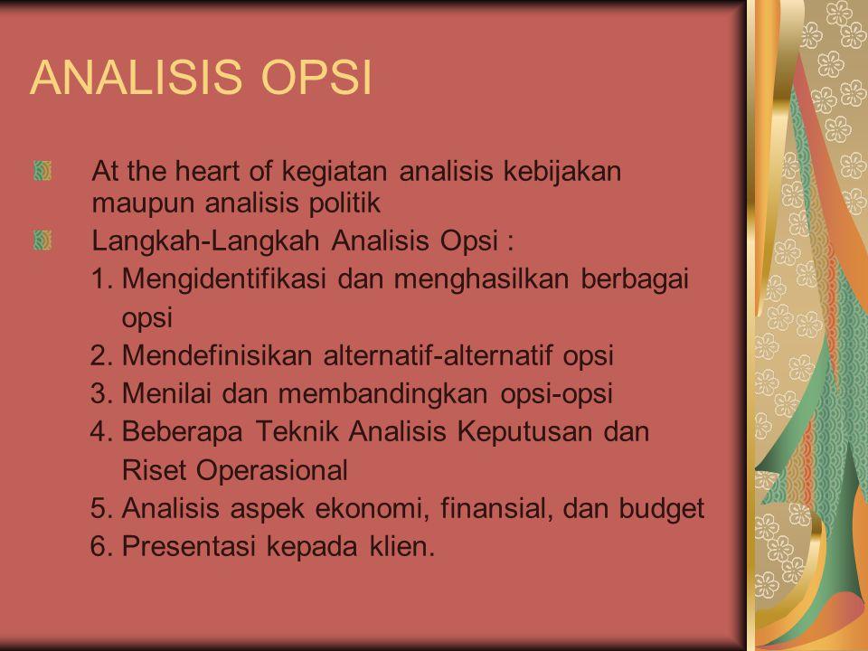 ANALISIS OPSI At the heart of kegiatan analisis kebijakan maupun analisis politik Langkah-Langkah Analisis Opsi : 1. Mengidentifikasi dan menghasilkan