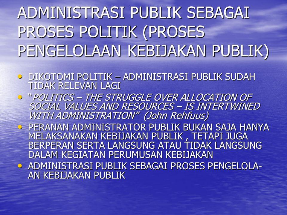 ADMINISTRASI PUBLIK SEBAGAI PROSES POLITIK (PROSES PENGELOLAAN KEBIJAKAN PUBLIK) DIKOTOMI POLITIK – ADMINISTRASI PUBLIK SUDAH TIDAK RELEVAN LAGI DIKOT