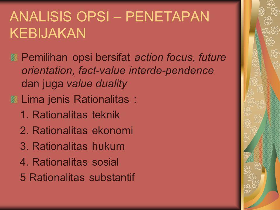 ANALISIS OPSI – PENETAPAN KEBIJAKAN Pemilihan opsi bersifat action focus, future orientation, fact-value interde-pendence dan juga value duality Lima