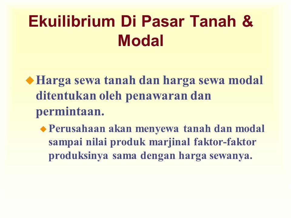 Ekuilibrium Di Pasar Tanah & Modal u Harga sewa tanah dan harga sewa modal ditentukan oleh penawaran dan permintaan. u Perusahaan akan menyewa tanah d