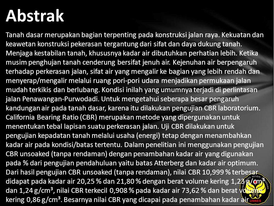 Kata Kunci Tanah, Kadar Air, CBR.