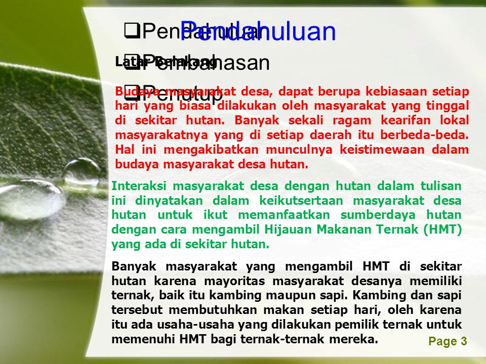 Powerpoint TemplatesPage 4 Dalam Peraturan Pemerintah Republik Indonesia Nomor 28 Tahun 1985 tentang perlindungan hutan, dinyatakan bahwa tujuan perlindungan hutan adalah untuk menjaga kelestarian hutan agar dapat memenuhi fungsinya.