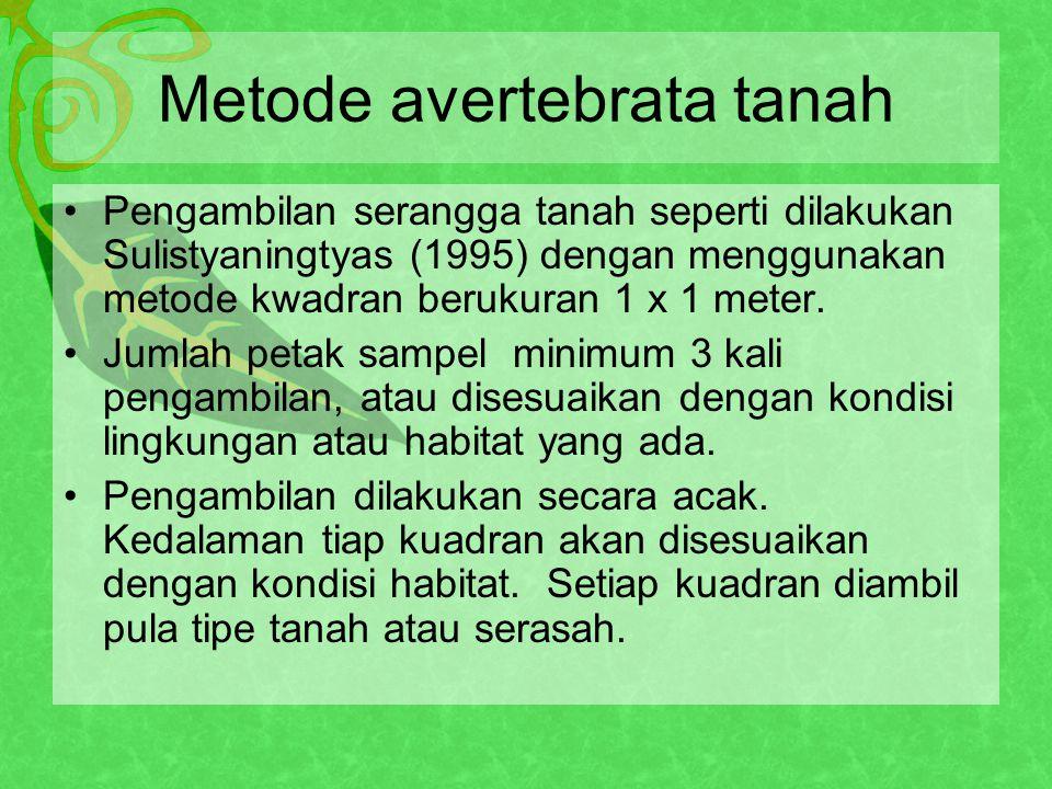 Metode avertebrata tanah Pengambilan serangga tanah seperti dilakukan Sulistyaningtyas (1995) dengan menggunakan metode kwadran berukuran 1 x 1 meter.