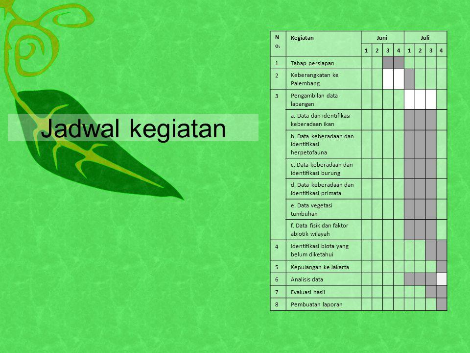 N o. KegiatanJuniJuli 12341234 1Tahap persiapan 2Keberangkatan ke Palembang 3Pengambilan data lapangan a. Data dan identifikasi keberadaan ikan b. Dat