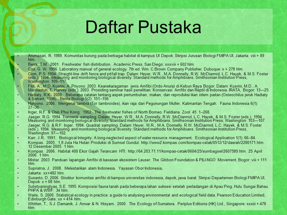 Daftar Pustaka Arumasari, R.1989. Komunitas burung pada berbagai habitat di kampus UI Depok.